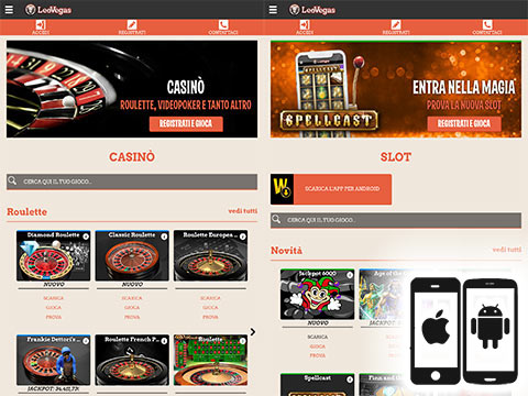 LeoVegas su Android e iPhone